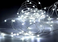 Гирлянда светодиодная роса на батарейках 10 м, 100 LED (Белый)