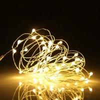 Гирлянда светодиодная роса на батарейках 5 м, 50 LED (Желтый)