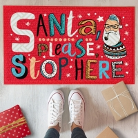 Дверний килимок Санта, пожалуйста, остановить здесь