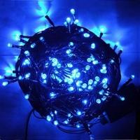 Гирлянда светодиодная 300 LED, черный шнур, (синий)