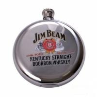 Фляга круглая Jim Beam серебро