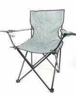 Складное кресло-стул для пикника с подстаканником в чехле 50х50х80 см (серый)