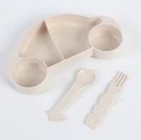 Фото Детская бамбуковая посуда 2 в 1 Машинка (Бежевый)