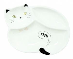 Тарелка порционная Котик (бело-черный)
