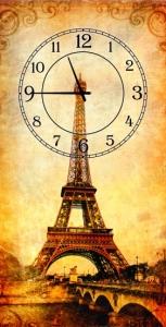 Часы на холсте Париж 25х50