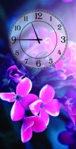 Часы на холсте Ночной цветок 25х50
