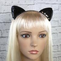 Ушки кошки на ободке с паетками (черный)