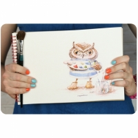 Альбом для рисования Сова-художница 40 л