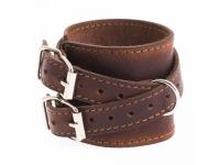 Браслет кожаный с двумя пряжками коричневый