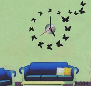 Часы наклейки на стену бабочки