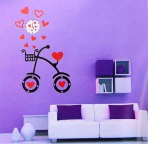 Часы наклейки на стену велосипед
