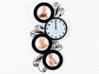 Часы настенные Круглая змейка на 3 фото черные