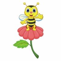 Наклейка Детская Bee on a Flower