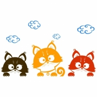 Наклейка Детская Three Kittens