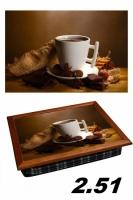 Фото Поднос с подушкой шоколадный кофе
