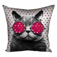 Фото Подушка кот в очках