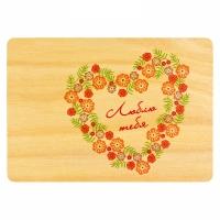 Деревяная открытка Сердце из цветов