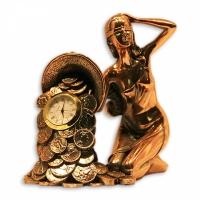 Статуэтка Фортуна с рогом изобилия+часы
