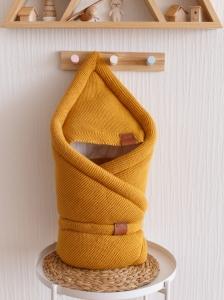 Демисезонный вязанный конверт одеяло (Горчица)