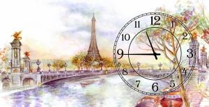 Часы на холсте Опять хочу в Париж 25х50