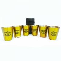 Набор из 6 рюмок в чехле Jack Daniels (золотые)