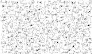 Обои раскраска - Веселые котята 1.0х0.6м