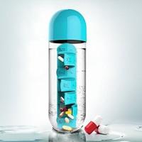 Бутылка для воды с таблетницей Pill Vitamin Water Bottle Blue