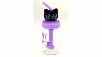 Бутылка Кошка с трубочкой миксером 4 вида