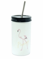 Стакан керамический с трубочкой Розовый Фламинго
