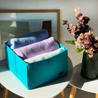Органайзер для вещей, полотенец и постельного белья 30х30х20 см (Лазурь)