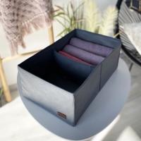 Органайзер для вещей, полотенец и постельного белья 40х25х16 см (Серый)