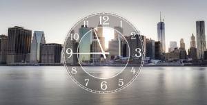 Часы на холсте Нью-Йорк 25х50