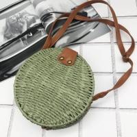 Плетенная сумка из соломы 18 см (Зеленый)