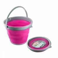 Ведро складное силиконовое круглое (розовое) 3л