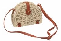 Плетенная сумка из соломы полукруглая