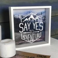 Фото Деревянная копилка для денег Say yes to adventure