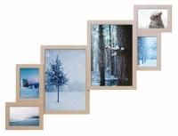 Деревянная метровая мультирамка Венге бежевая на 6 фото