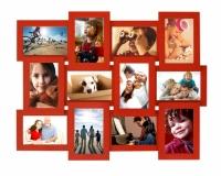 Деревянная мультирамка красная на 12 фото