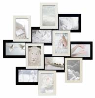 Фото Деревянная мультирамка Зигзаг белое и черное на 12 фото