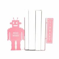 Держатель для книг Читающий робот (розовый)