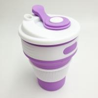 Фото Складная силиконовая чашка 350 мл фиолетовая