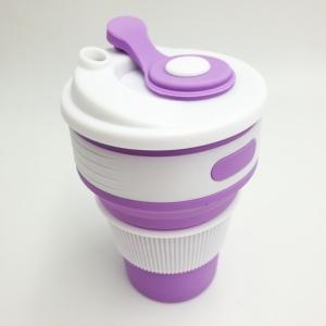 Складная силиконовая чашка 350 мл фиолетовая