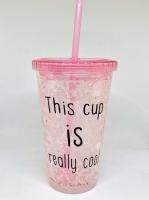 Стакан охлаждающий с жидкостью и трубочкой розовый cool cup
