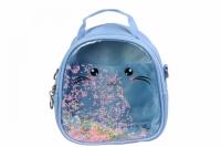 Детский прозрачный рюкзак Котик (Голубой)