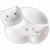 Тарелка порционная Котик (Бело-розовый)