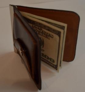 Зажим для денег с кармашеком для мелочи натуральная кожа №1