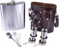 Фото Подарочный набор фляга из нержавеющей стали в чехле 2 стопки рюмки столовые приборы вилка нож ложка