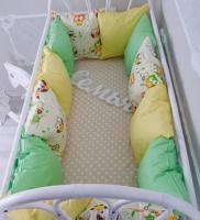 Комплект бортиков в кроватку и простынь Весенние Совушки 12 шт.