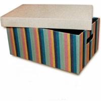 Короб с крышкой Мульти полоски 32х22х14,5 см