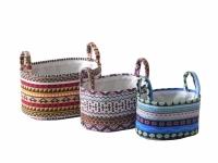 Корзина текстильная с ручками овальная 33х23х18 см